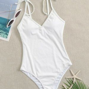 Rib Tie Shoulder One Piece Swimsuit